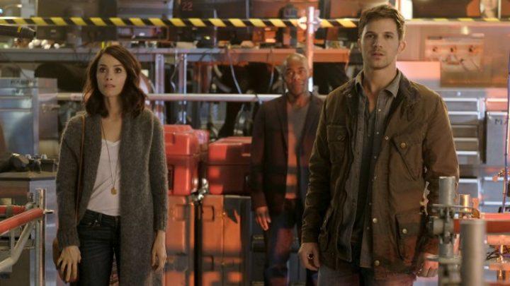 "TIMELESS -- ""Pilot"" -- Pictured: (l-r) Abigail Spencer as Lucy Preston, Paterson Joseph as Connor Mason, Matt Lanter as Wyatt Logan -- (Photo by: Joe Lederer/NBC)"